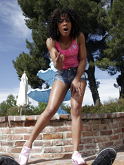 Sexy ebony girl Misty Stone receives a..