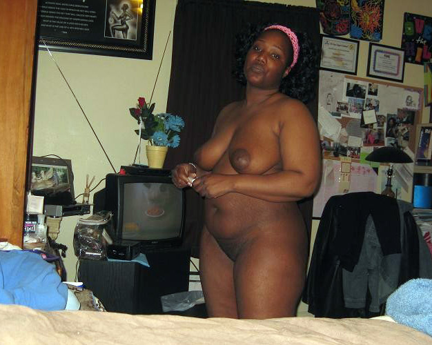 fat black self shot naked